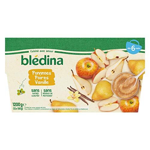 Blédina, Purée de Fruits dès 6 Mois, Pommes, Poires, Vanille, 100g (Packx12)
