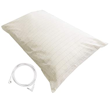 Earthing Pillowcase Grounding Pillow Case with UK Plug for Better Sleep Emf Protection(20X30in)