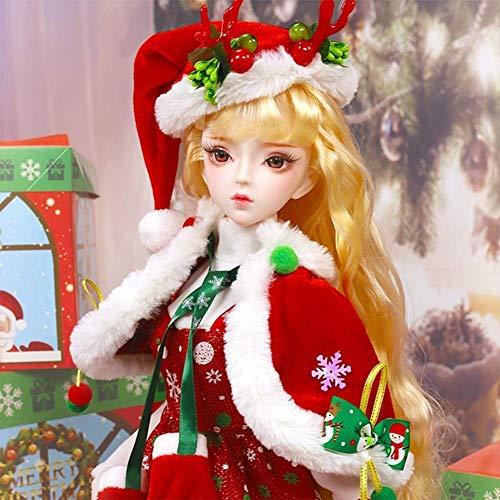 YNSW Bjd Puppe, Rote Weihnachtsdekoration Kuchenrock 1/3 SD Puppe 60Cm 24 Zoll Ball 34 Gelenkpuppen Modepuppe Full Set Spielzeuggöttin + Zubehör,Gelb