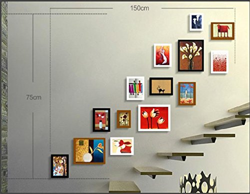ZGP Home@Wall Photo Frame Staircase Photo Wall Hanging Wall Creative Combination Entrance Hallway Photo Wall Solid Wood Frame Wall Corridor European Small Wall Surface (Color : D)