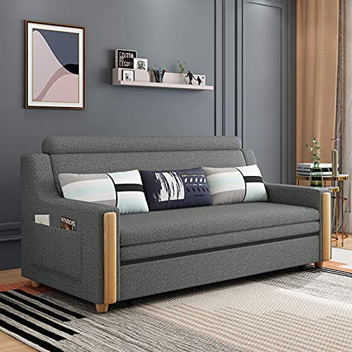 N/Z Home Equipment Living Room Loveseat Sofa Pull Out Bed Convertible Sofa Couch Sleeper European Soft Fabric Solid Wood Armrest Sleeper Folding Sofa Bed for Apartment Washable Beige 1.7M