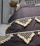 Flber outlet Gray Duvet Cover Quilt Cotton Tasseled Coverlets Boho Bedding Queen,86'x90'