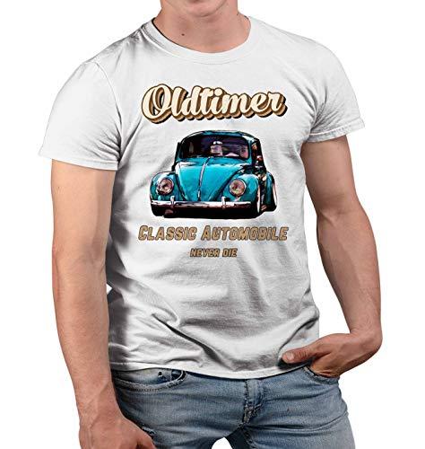 Nuts Shirts Oldtimer Käfer T-Shirt Oldtimer Modellauto German Drive Classics Tuning Bettle Oldschool Retro Auto Geburtstag Mann Geschenk Auto Herren Tshirt Kurzarm (Weiss, 2XL)
