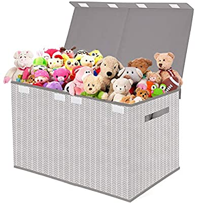Kids Toy Box Chest Storage with Flip-Top Lid - Collapsible Toys Boxes Bin Organizer for Nursery, Playroom,Closet,Home Organization - Tree Branch Pattern - Grey by none brand