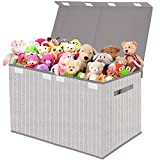 Kids Toy Box Chest Storage with Flip-Top Lid - Collapsible Toys Boxes Bin Organizer for Nursery, Playroom, Closet, Home Organization - Tree Branch Pattern(Grey)