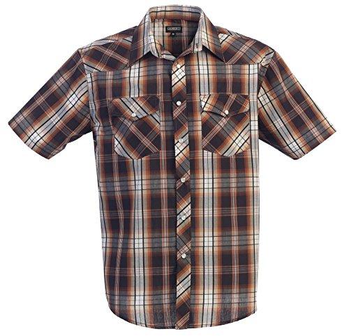 Camisa informal para hombre estilo western de Gioberti, de manga corta, a cuadros, con botones a presión de perla. - Marrón - 3X-Large