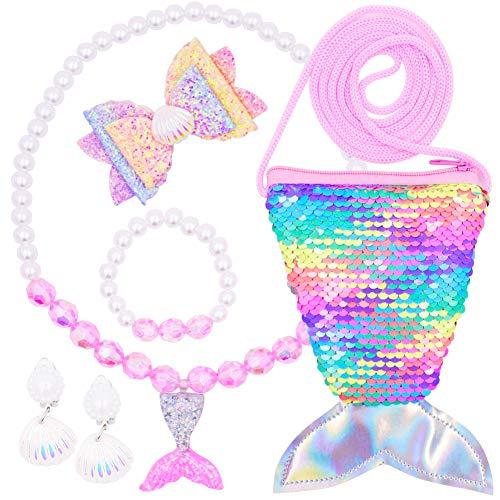 WENTS Mermaid Jewellery Set 7PCS Kinderschmuck Kleine Mädchen Handtasche Halskette Mermaid Armband Ring Ohrclip Set Mermaid schmuck Party Favors Geschenk für kleine Mädchen