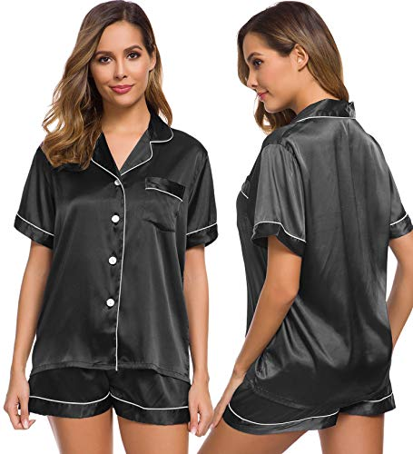 SWOMOG Womens Silk Satin Pajamas Set Two-piece Pj Sets Sleepwear Loungewear Button-Down Pj Sets Black