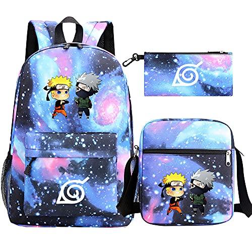 LUKIFU Naruto Zaino Zaini Scuola Unisex Cartoon Pattern Borse Per Laptop Zaino Per Libri Per Studenti