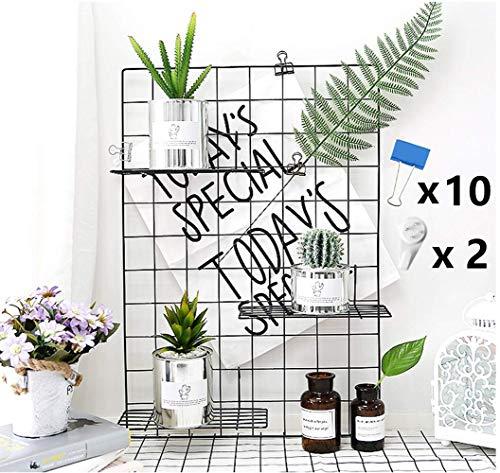 WJSX Grid Wall,DIY Eisen Gitter der Fotowand,Eisen Gitter Pinnwand Foto Wand,Dekoration Pinnwand Foto,Memo Hängen in der Familie, Küche, Büro und so weiter (Dunkles Schwarz, 45 x 65 cm)