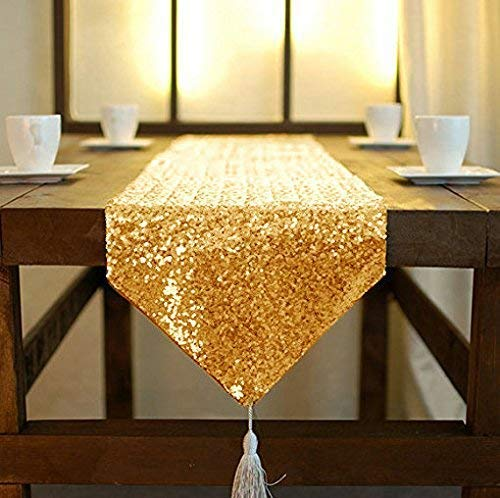 ShinyBeauty Shimmer Gold-Sequin Table Runner Tassel-30x180cm, Glitter Round Sequins Fabric for Table Runners in Party Wedding Banquet Table Linen Layo