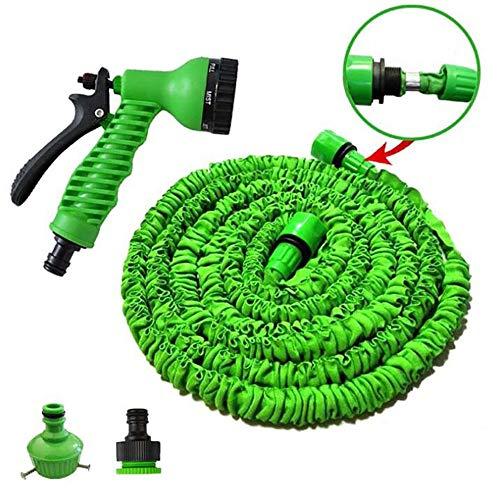 Telescopic Hose Car Wash Sprinkler Hose, Household Multifunctional Garden Garden Watering Hose Set Car Wash, Agricultural Watering,Green,25FT