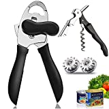 QOMJT Can Opener Manual,Classic Multifunction Can Opener,Food-Safe Stainless Steel, Smooth Edge for Elderly with Arthritis-(4-IN-1-Black)