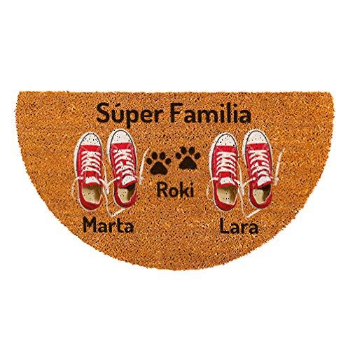 NANNUK - Felpudo Personalizado Semicircular Fibra de Coco Pareja Zapatillas Rojas + Dog