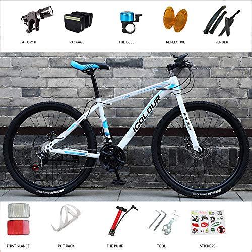 2020 Mountain Bike MTB Bicicleta para Hombres/Acero Mountain Bike24 / 26 Pulgadas Downhill Mountain Bike Hombres Mujeres Estudiantes Mountain Bicycle Disc Brake Racing Bike,White Blue,26in 24 Speed