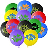 TUPARKA 36Pcs 6Farben Superhelden Party Ballons ,Multicolor Comic Slogans Ballons für Kinderpartys...