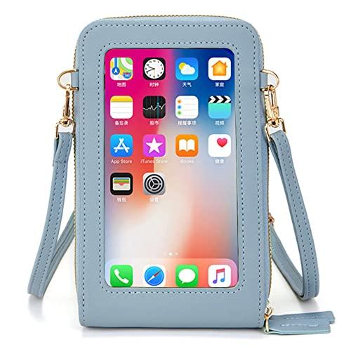 Pequeño bolso bandolera para teléfono móvil, para mujer, para pantalla táctil, monedero, bolso de mano, monedero con tarjetero, correa para el hombro, azul claro