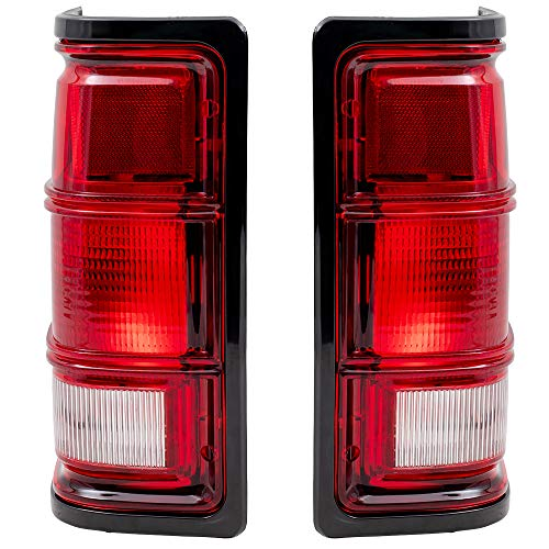 Driver and Passenger Taillights Tail Lamps with Black Bezels Replacement for 1981-1993 Ram Pickup Truck 55076439 55076438