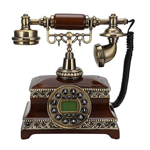 Teléfono Antiguo, teléfono de Estilo Antiguo con imitación Madera + Cuerpo de Bronce, retroiluminación Antigua y Antigua Teléfono para el hogar y la Oficina con Pantalla FSK/DTMF