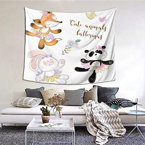 Tapiz de Pared,Conjunto de Juguetes de Caracteres Bear Bunny y Panda en Ballet Tutus Vector Tapestry (Colgante de Pared) Decoración de Pared Mural del hogar para Dormitorio Sala de Estar 203cmx152cm