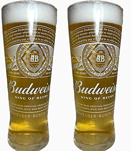 Budweiser 2020 - Confezione da 2 bicchieri da pinta in vetro nucleato (King of Beers)