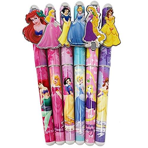 Disney Princess 6 Pen Set, Snow White, Cinderella, Belle, Ariel, Rapunzel, Aurora