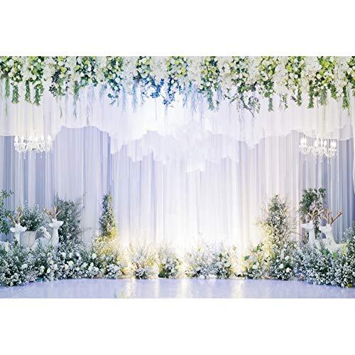 Haoyiyi 8x6ft Wedding Ceremony White Curtain Bakcdrop Luxurious Flowers Background Photography Photo Lover Mom Bridal Shower Bachelorette Marriage Engagement Reception Annivesary Photo Studio Props