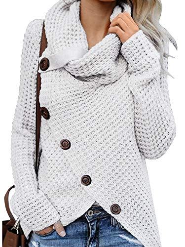 Yidarton Pullover Damen Warm Asymmetrische Strickpullover Rollkragenpullover Solid Wrap Gestrickt Langarmshirts Oberteile Causal (B-Weiß, XL)