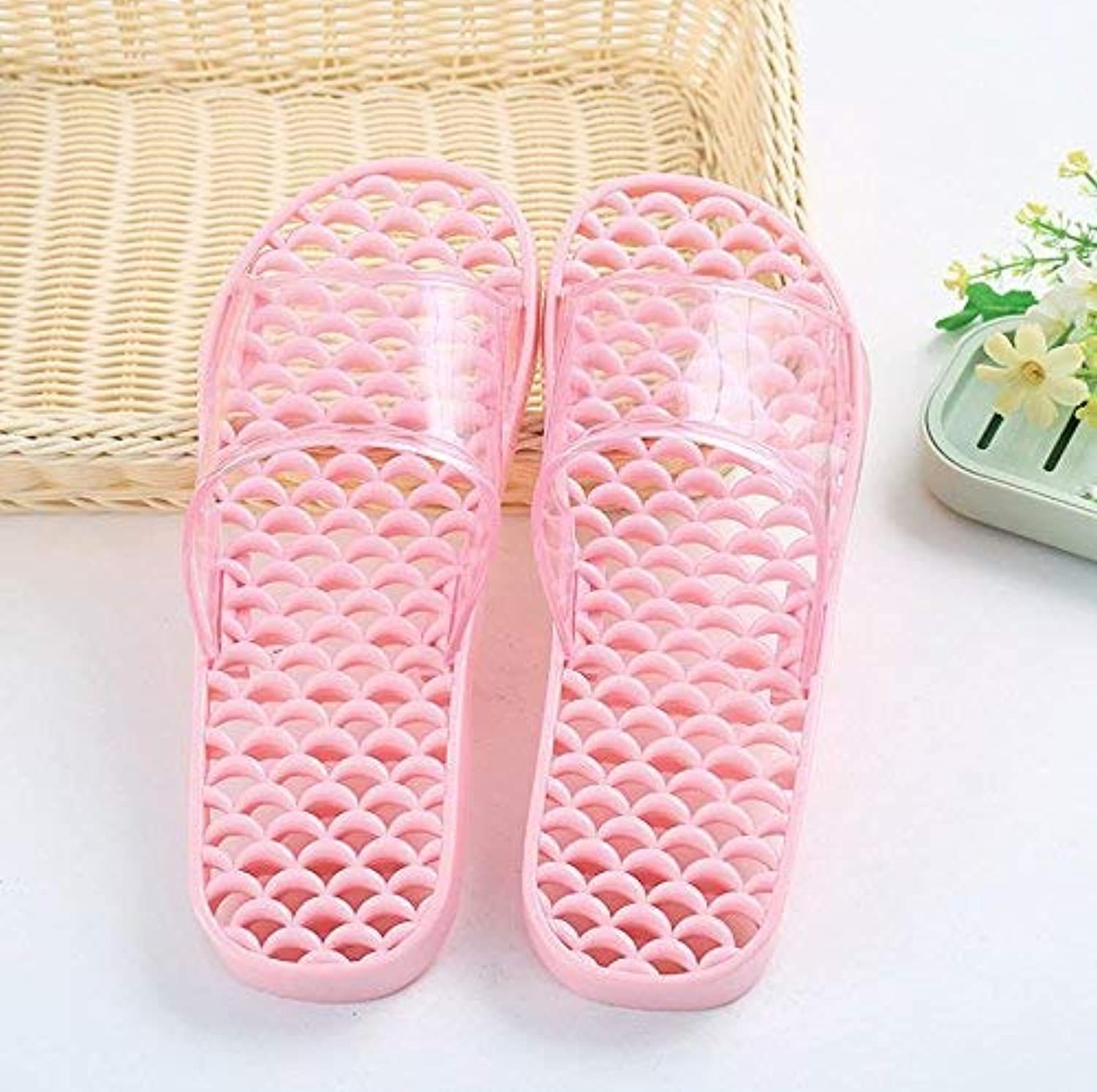 GouuoHi Womens Slippers Ladies Home Bathroom Slippers Massage Slippers Hollow Anti-Sliding PVC Slippers Light Purple Green Pink bluee