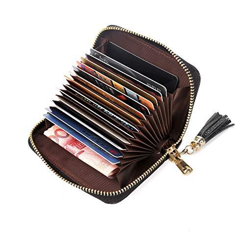 Hongyantech Leder Karten Geldbörse Leder Kreditkartenetui RFID Scheckkarten Kartenhalter für Damen und Herren mit RFID & NFC Schutz
