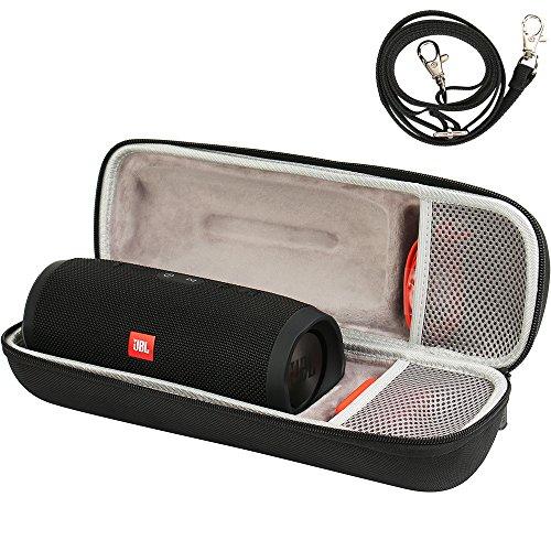 COMECASE Stabile Tasche für JBL Charge 3 Tragbarer Bluetooth-Lautsprecher mit Schulterriemen. Fächer für Zubehör vorhanden - Schwarz