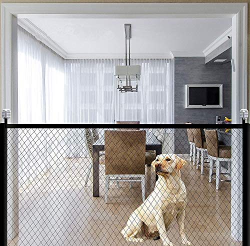 Magic Gate for Dogs Portable Folding Mesh Pet Gate Magic Gate Safety Gates Fence Isolated Gauze Indoor and Outdoor Safe Guard Install Anywhere 70.9'x28.3'