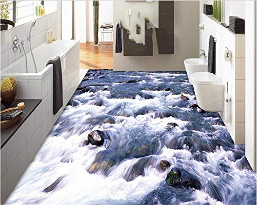 Indoor PVC behang Decor 3D behang rivier stroom kiezels driedimensionale 3D-vloeren tegel schilderij 400cm(L) x280cm(W)