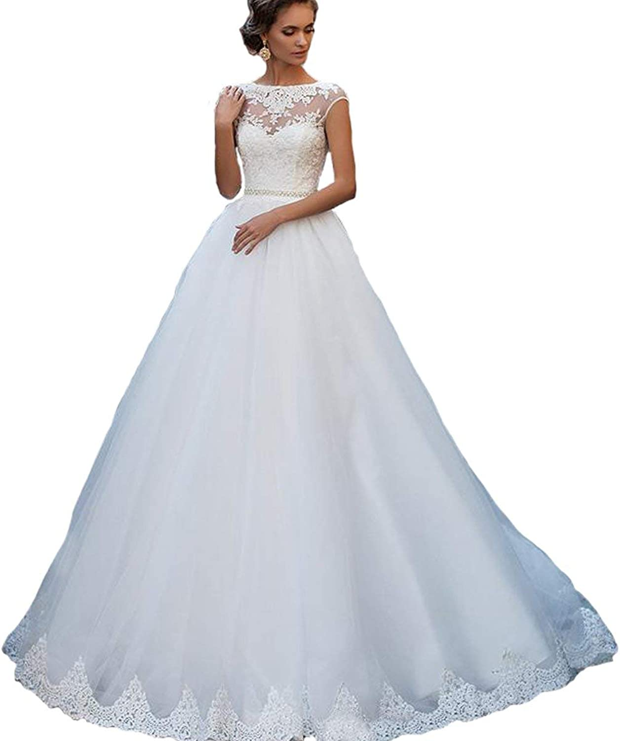 Alexzendra Cap Sleeves Long Women's Wedding Dress Lace Bridal Dress