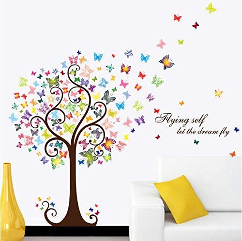 hfwh muurstickers, kleurrijk, vlinder, boom voor woonkamer, slaapkamer, zelfklevende stickers, vinyl, decoratie voor thuis, decoratie, om zelf te maken, 60 x 90 cm