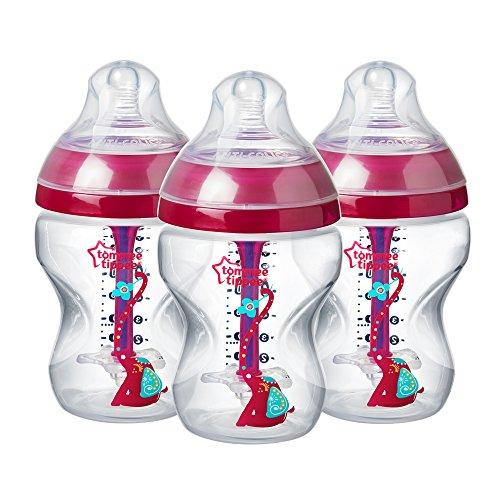 Tommee Tippee Versierd 0m+ Anti-koliek Natuurlijke Borstvoeding Fles Bpa Gratis 3 stuks. 260 ml roze