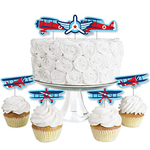 Taking Flight - Airplane - Dessert Cupcake Toppers - Vintage Plane Baby Shower or Birthday Party Clear Treat Picks - Set of 24