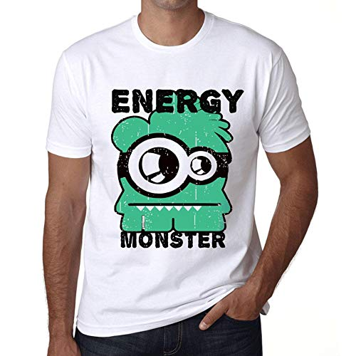 Hombre Camiseta Vintage T-Shirt Gráfico Energy Monster Blanco