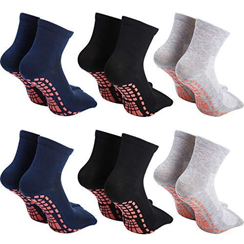 SATINIOR 6 Pares Calcetines de Yoga de Hombres, Calcetines Antideslizantes Calcetines de...