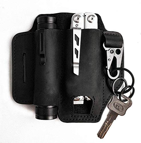 Funda de cuero natural para Leatherman Multitool EDC organizador de bolsillo con soporte para llaves para cinturón y linterna multiherramienta (negro)