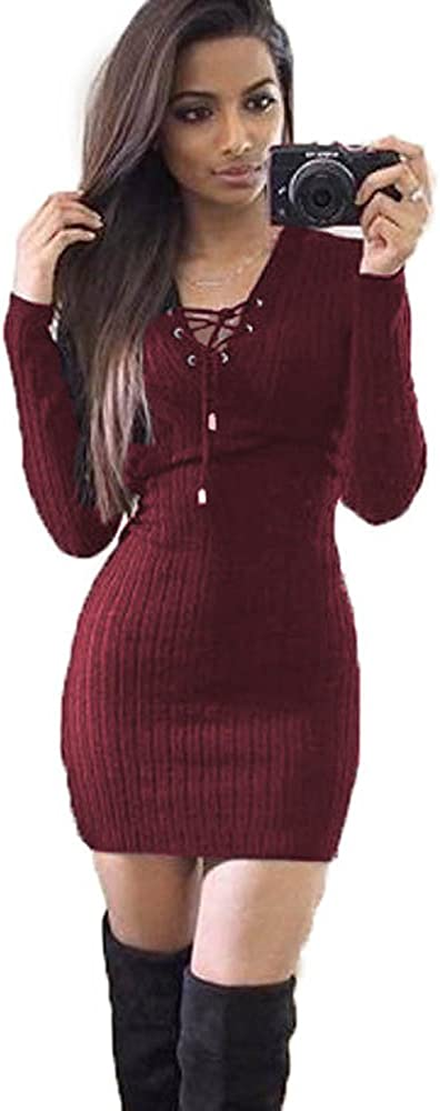 TOPUUTP Women Sexy V Neck Dress Winter Fashion Slim Knitted Sweater Party Mini Evening Dress Wine Red