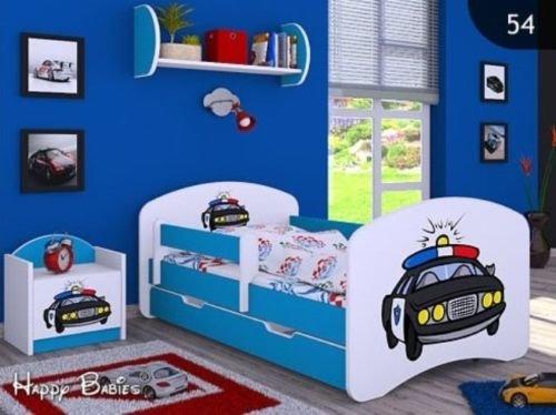 naka24 Kinderbett mit Matratze Bettkasten und Lattenrost Blau Verschiedene Motive (160x80cm mit Schublade, Polizei)