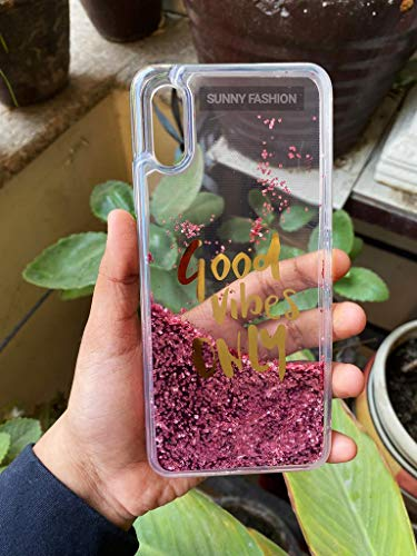 Sunny Fashion Good Vibes Only Designer Quicksand Moving Liquid Floating Waterfall Girls Soft TPU Running Glitter Sparkle Back Case for (Xiaomi Redmi 9A, Pink)