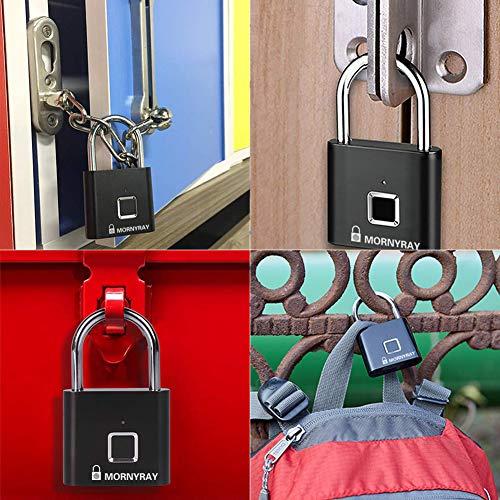 Fingerprint Padlock, Smart Keyless Security Fingerprint Gym Lock IP65 Waterproof Anti-Theft Portable USB Rechargeable Padlock for School Locker, Door, Cabinet, Suitcase, Backpack, Wardrobes (Black)