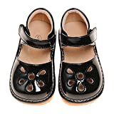 LilyPipSqueak Toddler Girl Squeaky Shoes Petal Black Free Stoppers (5 Toddler)