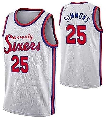 HGTRF Camiseta de Baloncesto para Hombre 76ers # 25 Ben Simmons Entrenamiento Juvenil Deportes Transpirable La Nueva Ropa XL