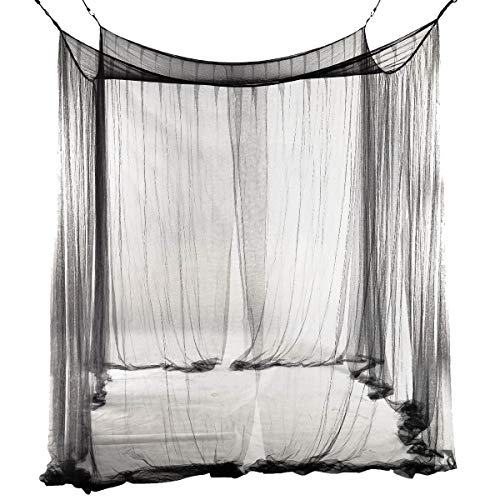 Mosquito Net - 4 Corner Bed Netting Canopy Mosquito Net Sized 190 210 240cm Black - Queen Lace Ivory Permethrin Cribs Blue Large Jacket Green Lifesystem Netting Dome Rain Purple Malaria De