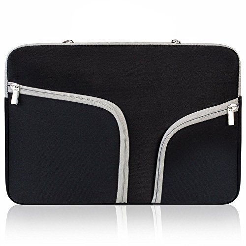 ivencase 11-11.6 inch Soft Laptop Tablet Sleeve, Case Cover with Zipper, Built-in 2 Pockets for Notebook Computer/MacBook/MacBook Air/Chromebook - Black