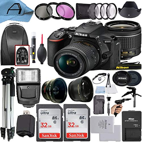 Nikon D5600 DSLR Camera 24.2MP Sensor with NIKKOR 18-55mm f/3.5-5.6G VR Len, 2 Pack SanDisk 32GB Memory Card, Backpack, Tripod, Slave Flash Light and A-Cell Accessory Bundle (Black)