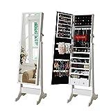 Armario grande AllRight con espejo, armario joyero de almacenamiento, organizador de pie, color blanco